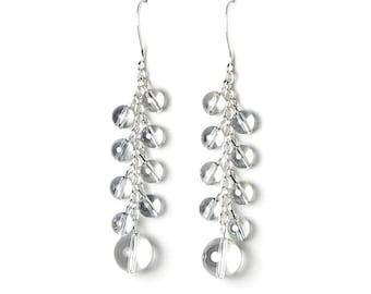 Raindrop Earrings, Swarovski Crystal Blue Shade Raindrop Earrings, Long Silver Earrings, Bubbles, Water Droplet, Rain Jewelry, Globe Crystal