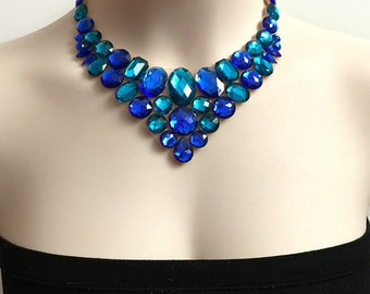 royal blue and teal bib rhinestone tulle necklace