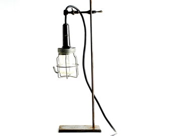 Vintage Cage Lamp on Lab Stand - Industrial Lighting