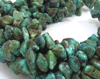 Large Genuine Turquoise Nugget, Blue-Green Turquoise Strands, 15 inch Strand, Item 426gst