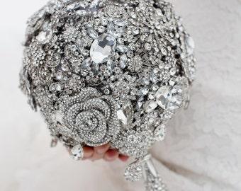 Custom Silver Brooch Bouquet - Crystal Brooch Bouquet, Bridal Bouquet, Wedding Bouquet, Jeweled Bouquet - 8 inch Crystal Bouquet