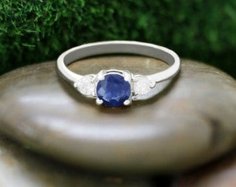 5x5MM Blue Sapphire and Diamond Engagement <Prong> Solid 14K White Gold (14KW) Colored Stone Wedding Ring *Fine Jewelry*  (Free Shipping)