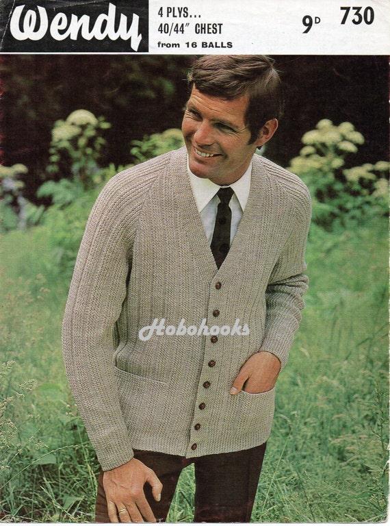 Knitting Pattern Mens Raglan Cardigan : Vintage mens cardigan knitting pattern PDF mans v neck ribbed