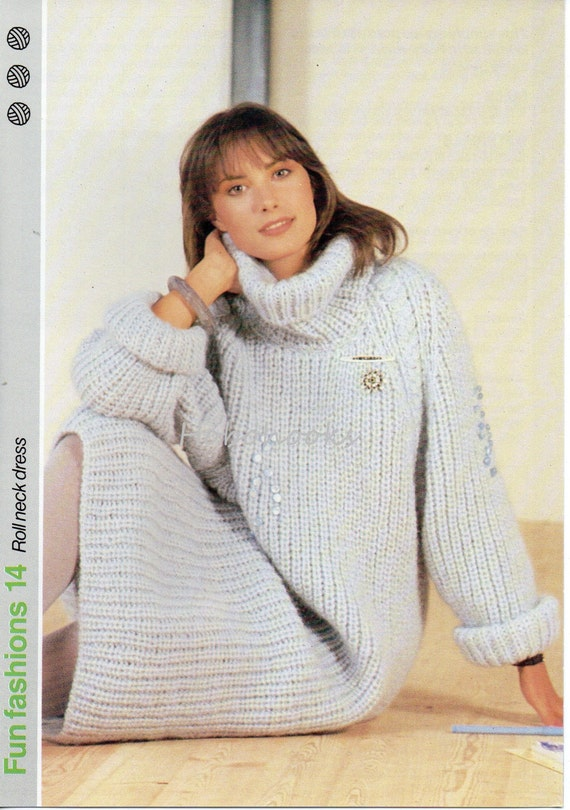 Knitting Pattern Dressing Gown : Womens Knitting Pattern Womens Dress Chunky Fishermans Rib