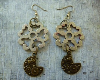 Sale! Industrial Chic Found Objects, Mixed Metals, Steampunk Earrings with Pewter Filigree Flower, with a Hint of Red Paint, and Brass Gears