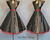 1950s Chic Party Dress ~ Vintage 50s Grey Full Skirt Frock XS ~ Striped Scarf Detail