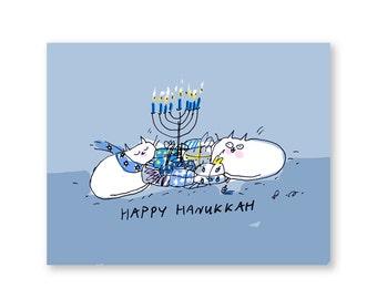 Happy Hanukkah Card - Hanukkah Cat Card