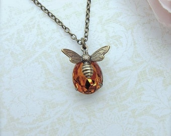 Bee Necklace, Bee Jewelry Honey Bee Necklace Topaz Honey Drop Tiny Bee Jewelry, Gift for Her, Bee Gift, Bee Lover Christmas Gift Stuffer