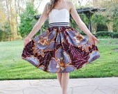 New Vlisco Bloom Midi skirt/ African/ Golden flowers/ African Dutch Wax/ Made to order/ Jupe Wax/African clothing/ rusteam