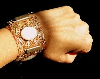 Vintage Lacey Filigree Mother of Pearl Brass Link Bracelet - Filigree Link - Epsteam - Bohemian - ornate bracelet - MOP -  filigree bracelet