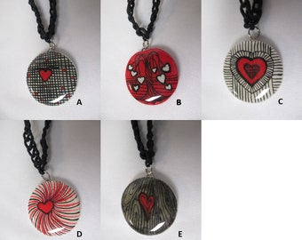 HEART ILLUSTRATION OOAK Clay Pendant Black Hemp Necklace  - You Choose One (1)