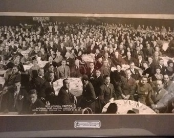 Serious Pest Control Convention Framed Wall Photograph - Large 1944 Panoramic View - Chicago Hotel Sherman - Kauffman & Fabry Photographer