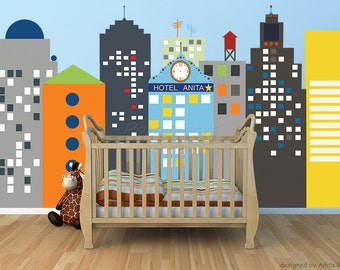 "Fabric Re-positionable City Buildings Wall Mural -Modern City with Personalized Name & Time (90""H 158""W) - Anita Roll's art work prt0034"