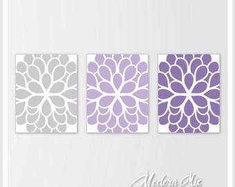 Flower canvas art. Dahlia Flower Print Purple Lavender and Gray Nursery Bedroom Art. Bathroom Art Home Wall Art Decor M-002-02