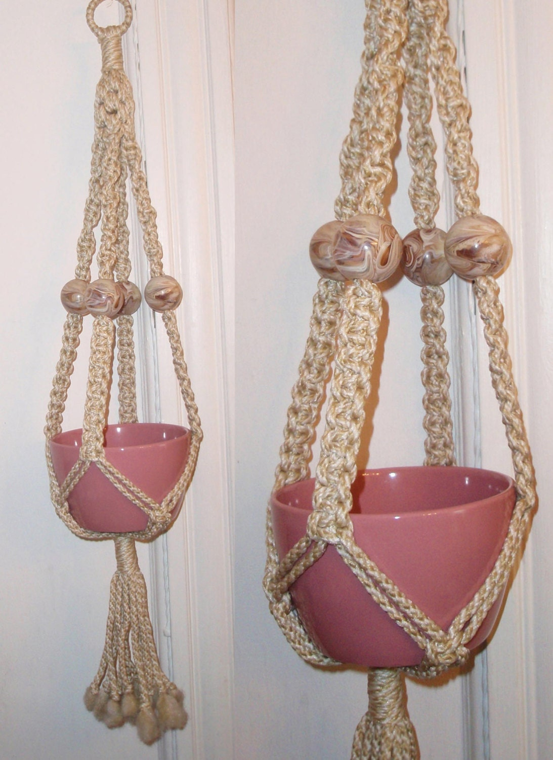 Vintage 70s Macrame Hanging Planter W Faux Marble Beads