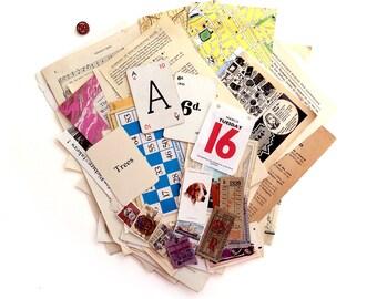 Big 70 piece vintage paper ephemera pack. Multicolour ephemera Collage Art Pack. (B 70)