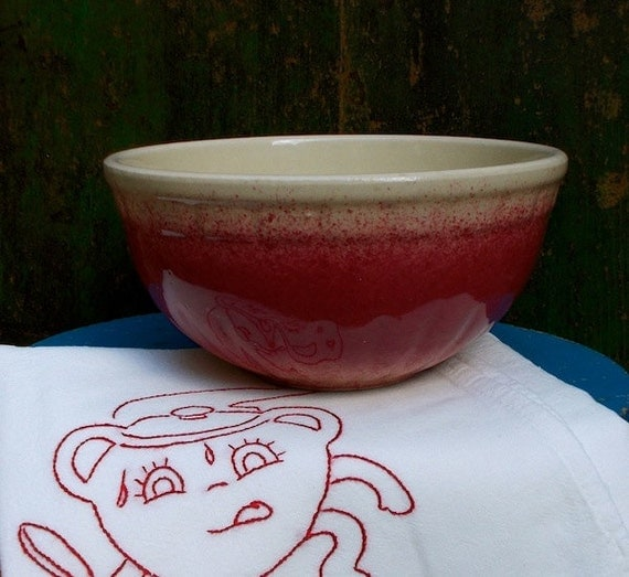 Vintage red mixing bowl