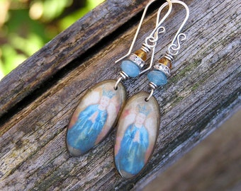 blue quartz and cognac quartz gemstones, czech crystal rhinestone bead, and artisan made vintage charm earrings. OOAK. praying image.