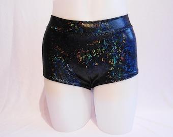 Hot Pants - Black Hologram Lycra - Roller Derby - Pole Dance - Mid Rise Waist - Plus size available