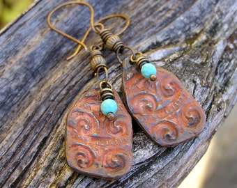 faceted blue turquoise gemstones, hand cast pewter and antiqued brass bohemian earrings. rustic dangle earrings. patinaed metal. boho hippie