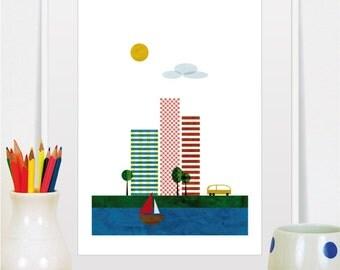 city prints, cityscape art, mid century modern art, cityscape, city skyline, nursery pictures, office art, retro print, nursery wall decor