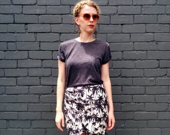 Palm Print Skirt / Tropical Wrap Skirt / Silk Mini Skirt  - Handmade by FallFellFallen