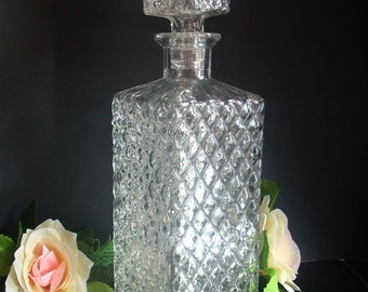 Vintage Glass Decanter,Whiskey Decanter, Liquor Decanter,Carafe,Kithcen Decor