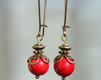 Red Earrings Dangle Earrings Victorian Earrings Boho Chic Earrings Jewelry long Earrings Gift Gift Ideas Gift For Her For Her