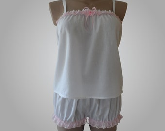 White Lingerie Babydoll & Bloomers set with Pink Lace Cotton Handmade
