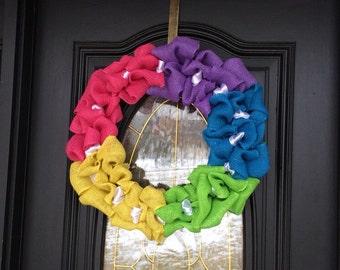"Rainbow Wreath Pride Wreath Burlap Wreath 20"" Wreath Rainbow Burlap Wreath"