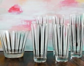 Vintage Hand-Painted Midcentury Modern Highball Cocktail Glasses and Matching Ice Bucket - Set of 8 Glasses, 14 oz, and Ice Bucket