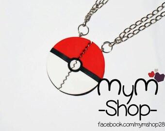 Pokemon pokeball necklaces or keychain couple friendship love handmade i choose you , mymshop28