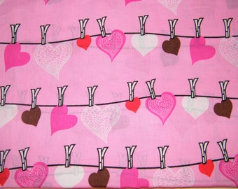 BTY HANGING HEARTS Novelty Print 100% Cotton Quilt Crafting Fabric by the Yard