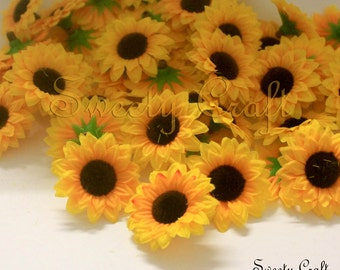 20 pcs. Mini Sunflower Artificial Flower Heads for Wedding , Bridal Hair Clip, Bag, Shue Decorate