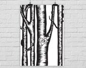 Kunstdruck Hochzeit Geschenk individuell Namen Initialen Baum
