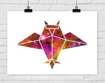 "fine-art print ""Space Owl"" origami universe"