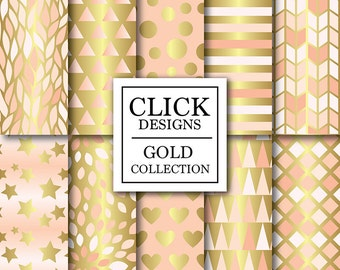 """Peach & Gold Digital Paper: """"PEACH GOLD"""" digital scrapbook backgrounds with peach gold geometric elements, stars, hearts, for invites, carts"""