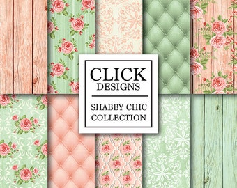 """Shabby Chic Wood Digital Paper: """"SHABBY PEACH GREEN"""" Floral scrapbook wood background, romantic papers with roses for wedding invites, carts"""