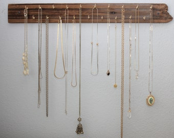 """Necklace Organizer Made With Reclaimed Wood + Hooks for Jewelry - 24"""" Long Jewelry Display"""