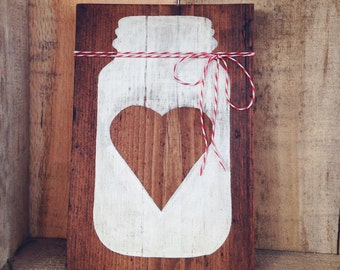 Mason Jar Love sign - hand painted on reclaimed wood