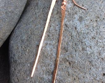 Simple hammered copper earrings/ Dangle rectangle earrings