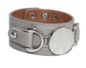 Silver Monogrammed Leather Bracelet with Silver Disc