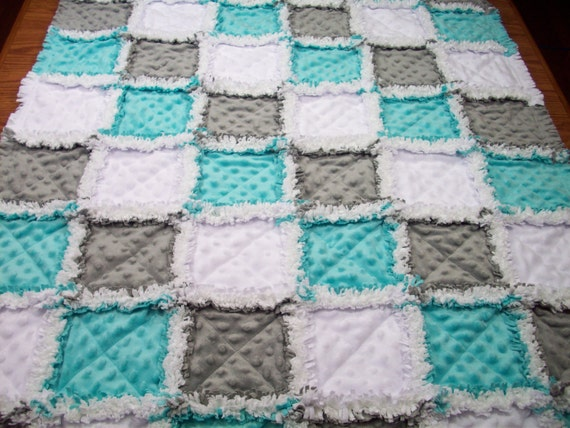 Baby Rag Quilts Aqua Grey Rag Quilt Minky Rag Quilt Unisex