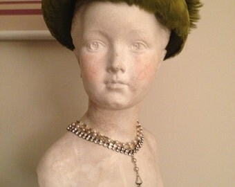 Vintage Green Feather Ladies Hat