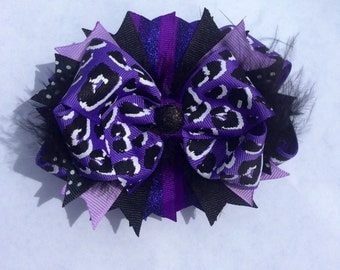 Purple Cheetah Bow