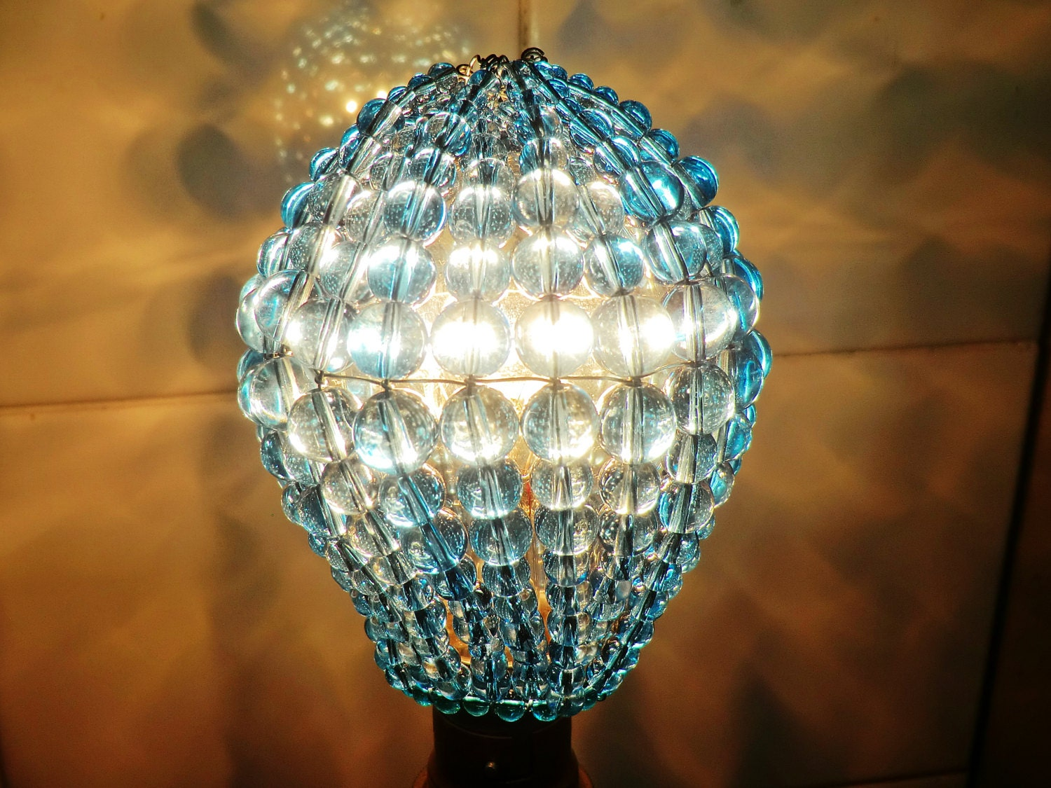 Crystal chandelier inspired glass lightbulb gls bulb cover sleeve crystal chandelier inspired glass lightbulb gls bulb cover sleeve pendant lamp aqua turquoise lamp shade light teal drops beads moroccan mozeypictures
