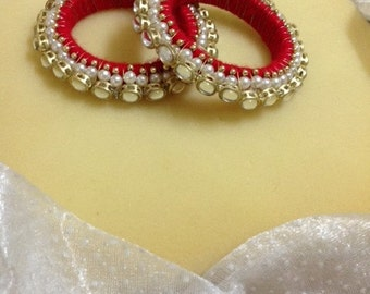 Red  Royal Kundan  Bangles