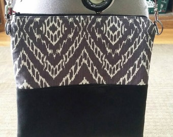 Ikat And Leather Purse