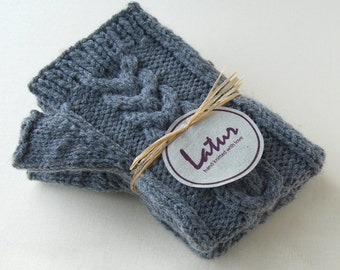 Holiday Gift for Women, Grey Cable Fingerless Arm Warmers Holiday gift for her Christmas gift