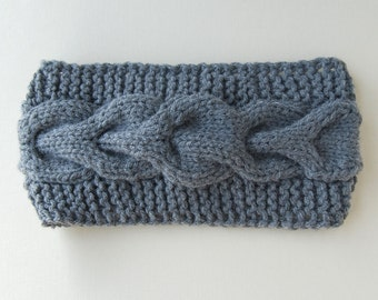 Grey Cable Knit Head Band Holiday gift for her Christmas gift